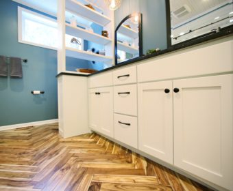 HGTV Bath Crashers featuring our Acacia Herringbone Natural